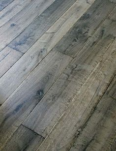 Manor Gray Custom Aged French Oak Floors / Coastal Living interview said this color wide plank oak flooring is best for sand and dog hair⚓ Castle Stones, Grey Hardwood Floors, Pine Floors, Grey Flooring, Grey Floorboards, Hardwood Floor Stain Colors, Refinishing Hardwood Floors, Parquet Flooring, Bedroom Flooring