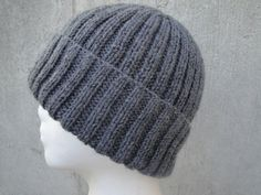 Charcoal Gray Hat Men & Teen Boys Hand Knit Wool by Girlpower, $40.00