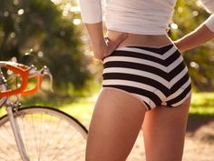 Versatile, vintage inspired cycling underwear for women. Sexy, comfortable panties with a chamois (foam insert) sewn in for riding. Chamois Panties are stylish, comfortable cycling underwear for women Women's Cycling, Cycling Girls, Cycling Shorts, Cycling Outfit, Urban Cycling, Cycling Jerseys, Cycling Underwear, Cycle Chic, Commuter Bike