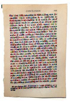 "Lauren DiCioccio,  Conclusion (pg 299), 2013 Cross-stitch into found book page 4.75 x 7"" Retail: $1,200 Courtesy of the Artist and Jack Fischer Gallery, San Francisco"