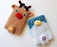 amigurumi reindeer and penguin ipod/iphone case