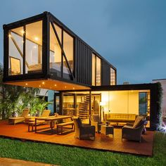 """The structure of the """"Casa Reciclada"""" comprises of three shipping containers. Two of them are 20 feet on the main floor, and one is 40 feet on the subsequent floor. Fujimori clarifies that the plan is made for a youthful couple for a wide open living. Building A Container Home, Container Buildings, Container Cabin, Cargo Container, Container Store, Container Architecture, Modern Small House Design, Tiny House Design, House Structure Design"""