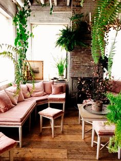 Pretty seating & hanging plants