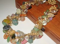 Chunky Natural Stones BEADED Hand Knit Cluster by SerebaDesigns,