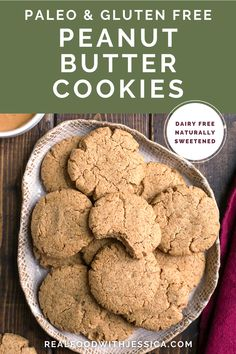 These Paleo Peanut Butter Cookies use cashew butter in place of peanut butter to keep them legume free. They are chewy, soft and so tasty. Gluten free, dairy free, and naturally sweetened as well. #paleo #glutenfree #paleocookies #healthy #easyrecipe #dairyfree | realfoodwithjessica.com @realfoodwithjessica Paleo Peanut Butter Cookies, Paleo Cookie Recipe, Paleo Cookies, Healthy Cookie Recipes, Cashew Butter, Best Paleo Recipes, Dairy Free Recipes, Real Food Recipes, Dessert Recipes