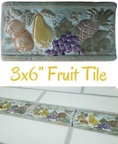 "Verde Fruit 3x6"" Listello $1.99/each Glazed ceramic listello with a mixed fruit design. Pear, grapes, pineapple, and oranges. Colors include teal, green, purple, and gold. Use it between your wall tiles as a decorative border. Wall use only. Actual dimensions: 3"" tall x 5-7/8"" wide x 3/8"" thick Need 100 or more? Contact us for bulk pricing. Backsplash Tile, Wall Tiles, Teal Green, Purple, Decorative Borders, Vintage Bathrooms, Mixed Fruit, Color Tile, Tile Ideas"