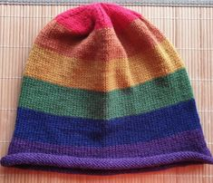 Hand - knitted Pride rainbow hat in wool for men L by Ebooksandhandmade on Etsy Russian Hat, Aviator Hat, Strapback Cap, Knit Beanie Hat, Rainbow Pride, Cashmere Wool, Rainbow Colors, Mittens, Hand Knitting
