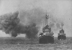 Imperial Japanese Navy destroyers Shigure and Samidare operating off the coast of Bougainville in the Solomon Islands hours prior to the Naval Battle of Vella Lavella on 6 October 1943.
