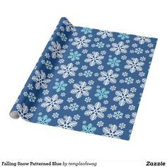 Falling Christmas Snow Patterned Blue Wrapping Paper