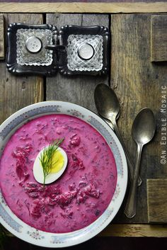 Polish Cold Beet Soup (Chłodnik) is a variation of red borscht that's served cold during hot summer months. Its sweet/sour flavor is refreshing and its rich pink color makes it as pretty as it is delicious.