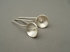 Small Radar Dish Domed Sterling Silver Dangle Earrings - by TheSilverForge on madeit