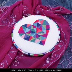 Geometric Modern Cross Stitch Heart Pattern PDF – DIY Gift – Counted Cross Stitch – Love Heart – Boho Décor – Embroidered Valentines Gift