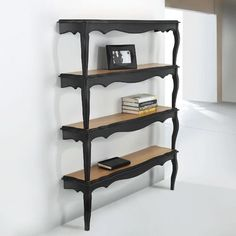 Bookcases and Shelves, Wall Shelving Unit Designs made of Stacked Wooden Tables....Created with split apart and painted tables  give the quirky look to wall decoration, creating a striking focal point and functional furniture pieces...