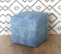 """Vintage African Indigo fabric cubes 18""""w x 18""""h Vintage and One of a Kind indigo cloth covered ottomans."""