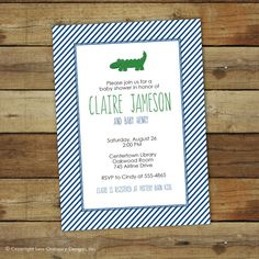 alligator baby shower invitation