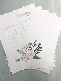 free printable floral calendar 2017