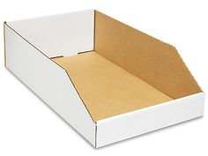 "White Corrugated Bin - 10 x 18 x 4 1⁄2"" / holds 2 wide, 12 deep (24 jbs) / 100x = $1.49 per box"