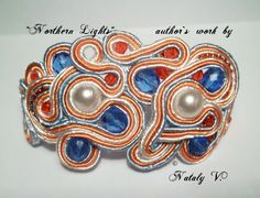 OOAK Soutache Jewelry Bracelete Northern Lights by Lily4you, $25.00