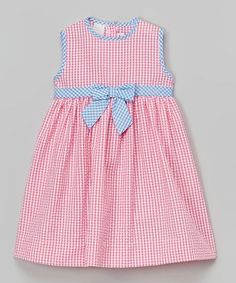 Look at this SIMI Pink Gingham Seersucker Dress - Infant, Toddler & Girls on today! Frocks For Girls, Kids Frocks, Little Dresses, Little Girl Dresses, Girls Dresses, Baby Dress Design, Frock Design, Moda Kids, Baby Frocks Designs