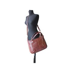 Sandy Italian Brown Leather Satchel Handbag - £64.99