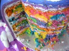 rainbow cake from one of my FAV cake decorating sites, Cake Eccentric!  i plan to do this with my daughter's first birthday cake :)