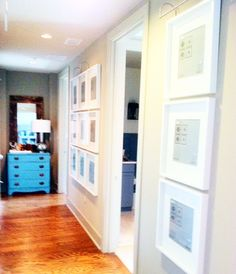 Hallway Gallery idea with Ikea frames and lights