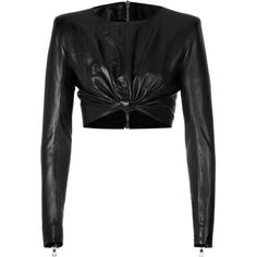 BALMAIN Cropped Leather Top ($2,545) ❤ liked on Polyvore featuring tops, crop tops, shirts, crop, jackets, shirts & tops, cropped long sleeve shirt, longsleeve shirt, heart crop top and heart shirt