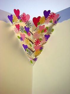 Lin Handmade Greetings Card: Pop up hearts + flowers