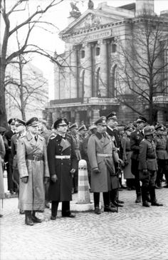 German Officers at the National Theater, Oslo by Unknown Artist Luftwaffe, Norway Viking, Scandinavian Countries, Holocaust Memorial, German Girls, The Third Reich, National Theatre, Battle Of Britain, Military History