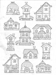Cottages Coloring Page Vida Simples Cidade Dos Sonhos
