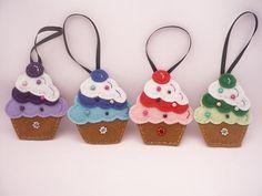 Felt Christmas ornament - Cupcake felt ornament - Handmade decorations