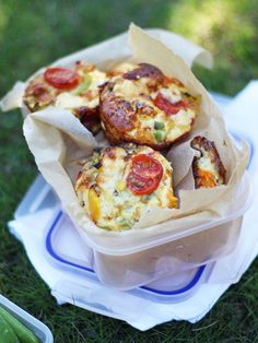 Mini Crustless Quiches - Mini quiches, with no pastry, perfect for lunchboxes or even breakfast. Filled with peppers, mushrooms and tasty ham, these also happen to be gluten free!