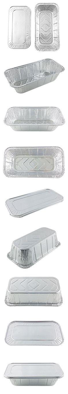 Handi-Foil of America Hfa 1/3 Third-Size Deep Aluminum Foil Steam / 5 lb Loaf Pan w/Foil Lids (Pack of 10)