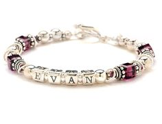 Mothers Name Bracelet - February Birth Month Crystals >>> Click on the image for additional details.