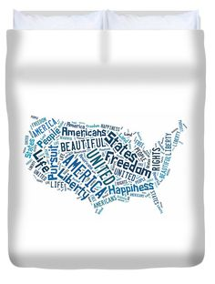United States Of America Map Art Duvet Cover.