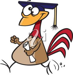 iCLIPART - Royalty Free Clipart Image of a Graduating Chicken