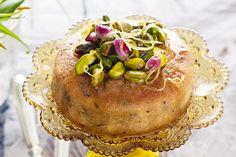 Earl Grey tea cakes with lemon & pistachio syrup http://www.taste.com.au/recipes/30345/earl+grey+tea+cakes+with+lemon+pistachio+syrup