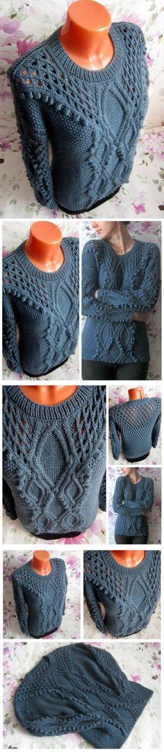 Вязаный пуловер 'На побережье...'   вязание   Постила