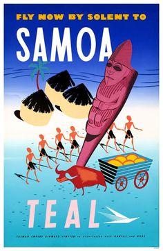 Samoa · TEAL Airlines vintage travel poster ~ affiches de travel