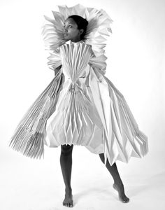 Pleated Paper Dress with complex folded 3D structure - origami fashion; wearable art // Tara Keens Douglas