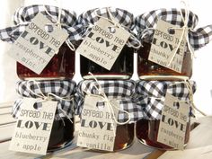 Spread the Love Jam Bonbonniere/Party Favours for Weddings, High Teas and Showers.   Customisable to your event, with 20 delicious flavours to choose from! Visit facebook.com/littlebowthief