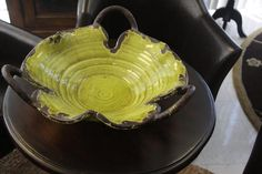 Hand Thrown Pottery   Pop of color - glazed, hand-thrown pottery bowl in spring green. Want ...