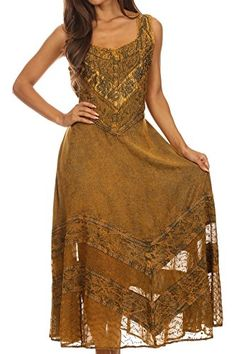 Sakkas 15225 - Zendaya Stonewashed Rayon Embroidered Floral Vine Sleeveless V-neck Dress - Gold - L/XL V Neck Dress, Dress Skirt, Dress Up, Gothic Outfits, Gold Dress, Bohemian Style, Zendaya, Bridesmaid Dresses, Wedding Dresses