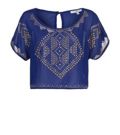 Blue and Gold Tribal Stud Crop T-Shirt