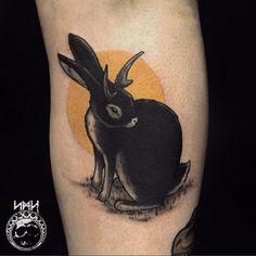 Jackalope tattoo by Scott M. Harrison ScottMHarrison neotraditional nature jackalope rabbit
