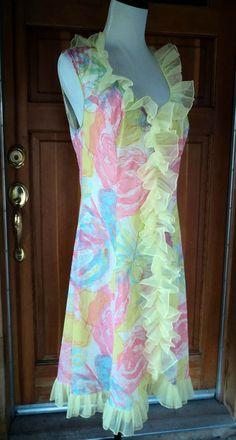 Vintage 60s Nightgown Chiffon Ruffles Neon Floral Nylon Short Nightie Vanity Fair 34 38 Bust