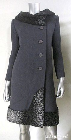 1960s Mod wool coat with Persian lamb trim
