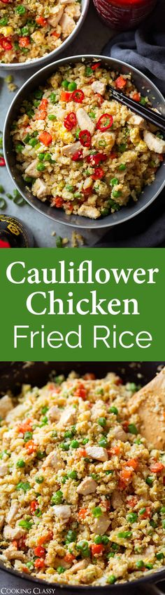 "Cauliflower Chicken Fried ""Rice""- this easy fried rice is jam packed with veggies and protein. It's seriously hearty and so delicious! A healthy one pan meal to start the new year with. #newyear #healthy #recipe #friedrice #cauliflowerrice #lowcarb #easyrecipe via @cookingclassy"