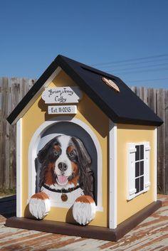 Large Wedding Card Box Dog House by mulberrylanefolkart on Etsy, $189.00