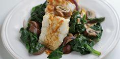 dampet fisk med sopp og spinat - Berit Nordstrand